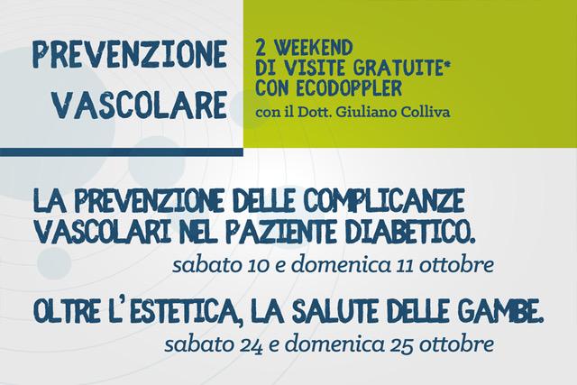 2 weekend di prevenzione vascolare con il Dott. Giuliano Colliva al Centro Medico Galilei - ottobre 2020
